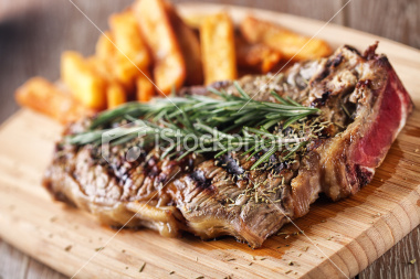 Stock Photo 20088036 Grilled Beefsteak With French Fries