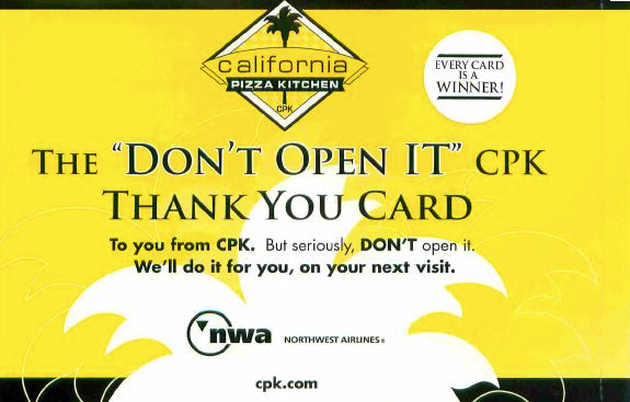 California Pizza Kitchen Thankyou Card