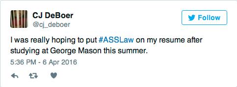 George Mason Ass Law Tweet