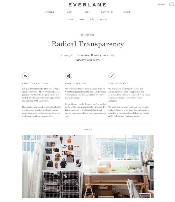 Everlane Transparency