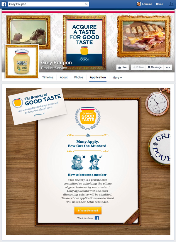 Grey Poupon Facebook Application